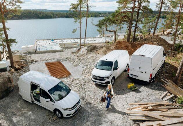 Volkswagen kommer med två helt nya eldrivna transportfordon, Caddy och Transporter. Crafter har funnits med eldrift sedan 2018.