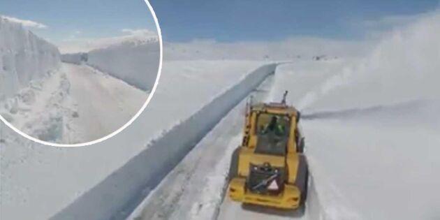Här plogas Vildmarksvägen – i år är det mindre snö än vanligt
