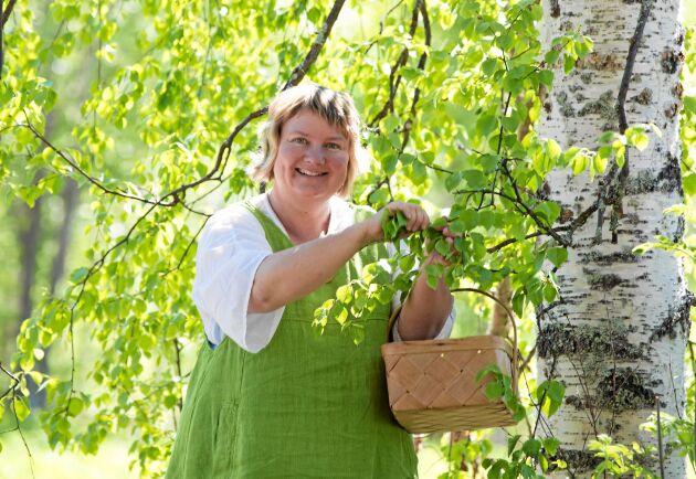 Eva Gunnare är specialist på att hitta nyttiga, välsmakande örter i naturen som hon sedan använder i all sin matlagning. Tänk på att det inte är tillåtet att plocka löv och skott från träd utan markägarens tillstånd. Och självfallet får man inte skada träden.