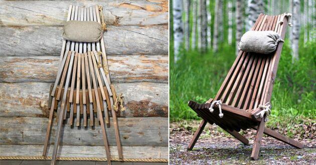 31 pinnar och en genial design, vilstolen består av restmaterial.