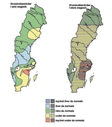Grundvattennivåerna i små och stora magasin i oktober.