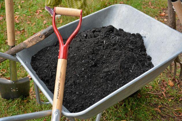 Färdig biokol. Gräv ner 1–5 kilo biokol per kvadratmeter mark, eller lägg det i dina krukor.