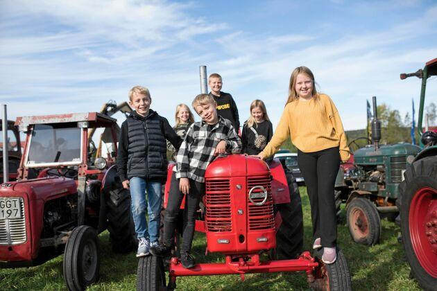 Kusinerna Helgesson älskar traktorer: Från vänster fram: Felix, Harry, Moa, Julia, Jakob och Maja Helgesson från Älgaryd och Ryd.