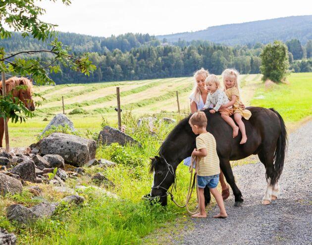 En dröm för familjen var att ha hästar och i fjol blev den sann. Här rider barnen på hästen Chippen, en 15-årig welshponny.