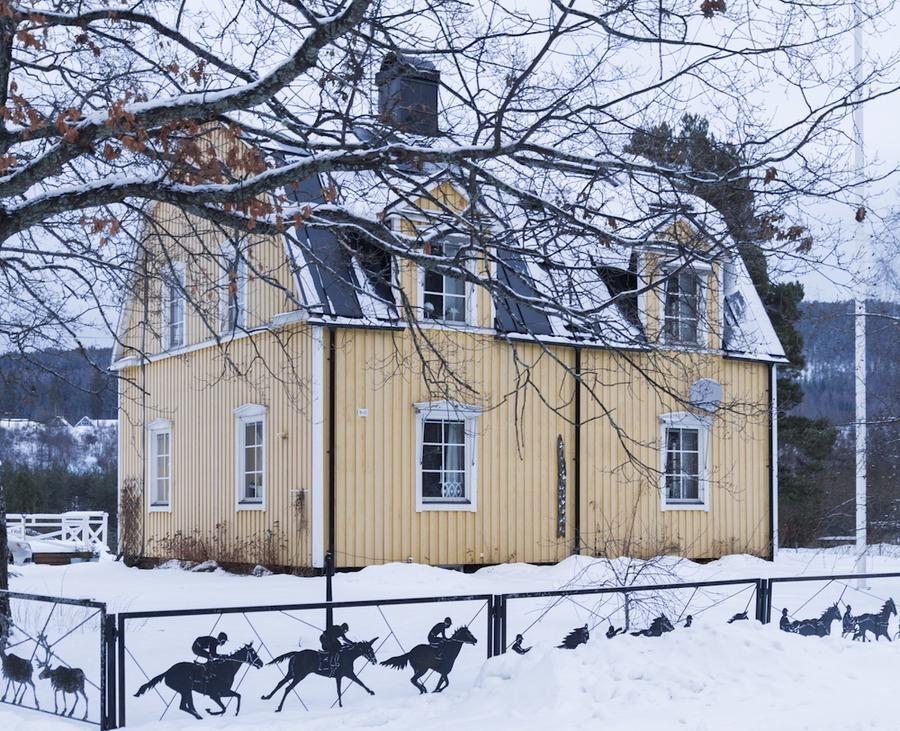 Den gula trävillan, byggd 1919, inhägnas av ett udda och personligt smidesstaket med travhästar, älgar, flottare som är typisk för orten Sollefteå, till och med en hockeyspelare finns med.