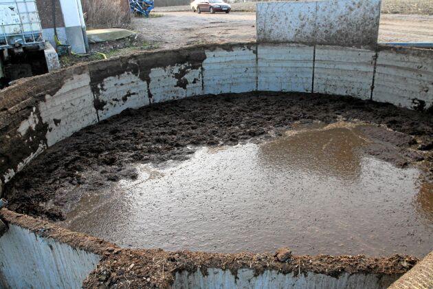 Gödseln pumpas till rötkammaren med en 9 kW Doda tryckpump. I gödselbrunnen (som rymmer 100 m3) tjockas flytgödseln till med försiktig tillsats av fastgödsel. För extra finfördelning används en Vogelsang Rotacut.