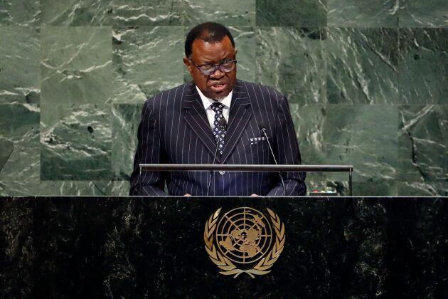 Namibias president Hage Geingob under ett tal inför FN:s generalförsamling.