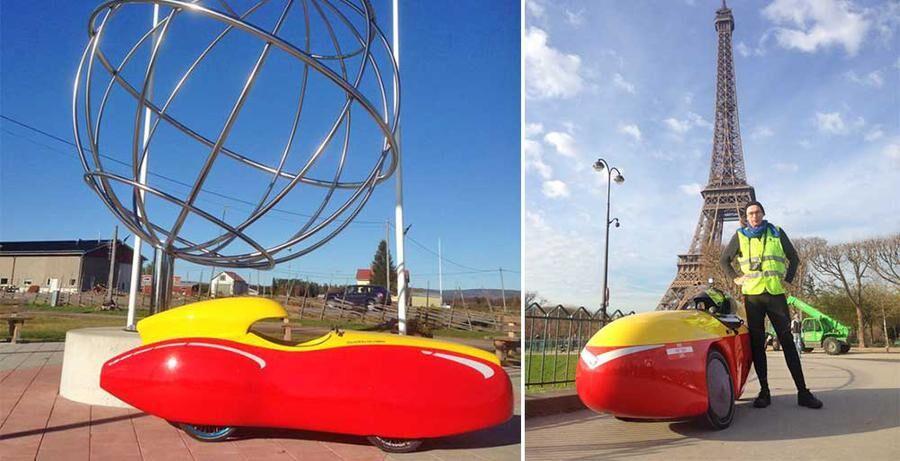 Här är Urpo Taskinens velomobil, till höger är en bild på förare och fordon under en resa till Paris.