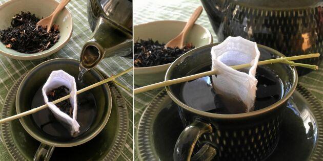 Plastbanta: Hemsydd tepåse på en kvist