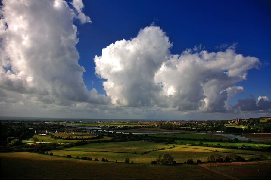 Cumulus congestus Clouds over Adur valley South Downs National Park Sussex England UK