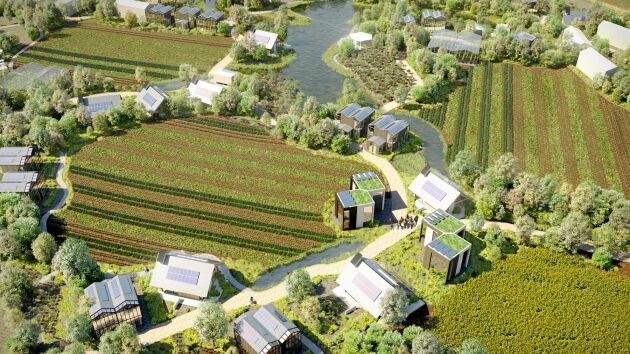 Husen i byarna kan bli både närproducerade, koldioxidpositiva och biologiskt nedbrytbara. Företaget har nämligen ett samarbete med det lundensiska företaget Ekolution som tillverkar Sveriges första prefabricerade huskroppar – av hampa.
