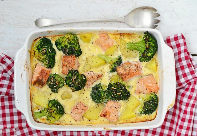 Citron, broccoli och matlagningsgrädde är det du behöver köpa hem till fiskgratängen.