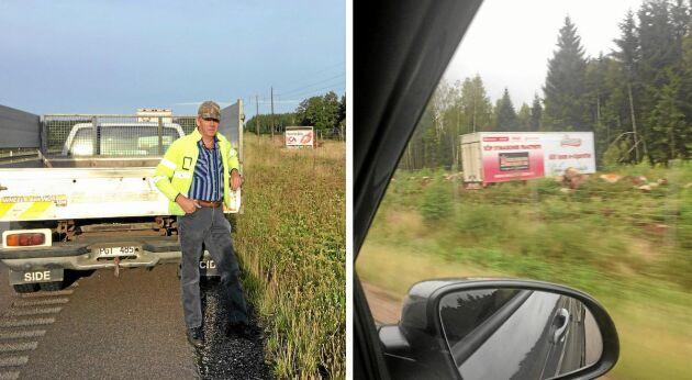 Lastbilsföraren Per Anders Torsson har tröttnat på skräpiga vägskyltar längs vägarna.