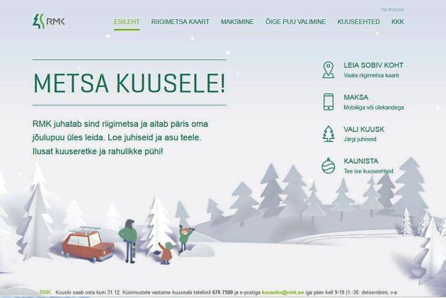 RMKs webbplats för julgranshjuggning i de estniska statsskogarna ut.