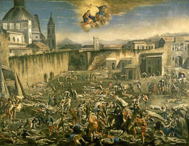 """Detalj ur """"Piazza Mercato i Neapel under pesten 1656"""" av Carlo Coppola. Oljemålning på kanvas, San Martino-museet i Neapel."""