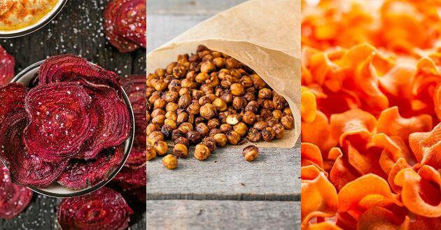 Rödbetschips, rostade kikärter och morotschips. Här får du enkla och bra recept på nyttigt snacks.