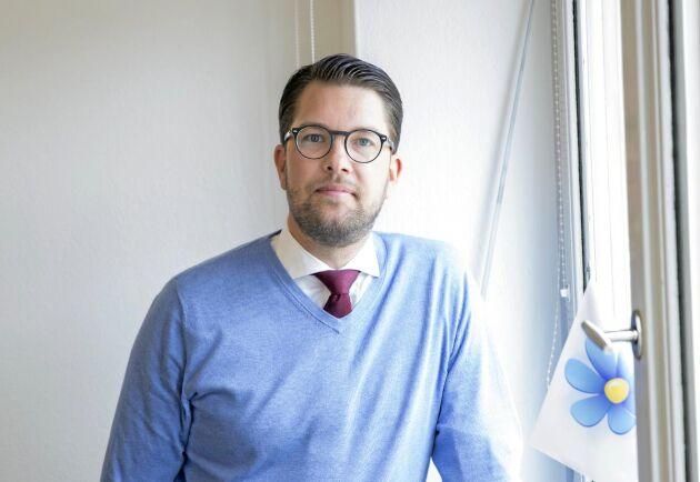 Jimmie Åkesson, partiledare för Sverigedemokraterna, vill lämna EU. FOTO: JOHANNA NORIN