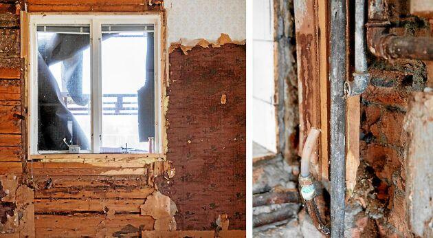 Genomruttna väggar på sina håll, där timret fick bytas ut. Men huset var ändå i grunden välbehållet.