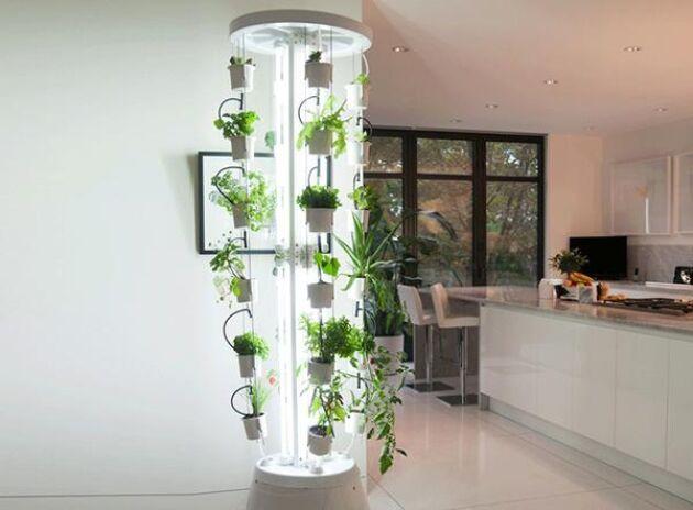 Nutritower har 48 krukor där du kan odla på höjden.