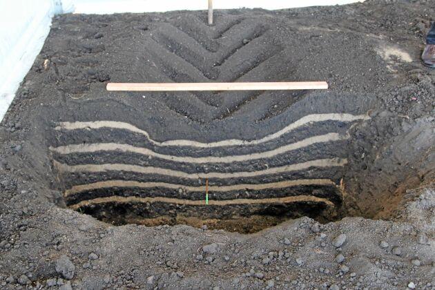 Innan däcket passerade var de vita linjerna vågräta. Nedsjunkningen visar att däcket packat marken.