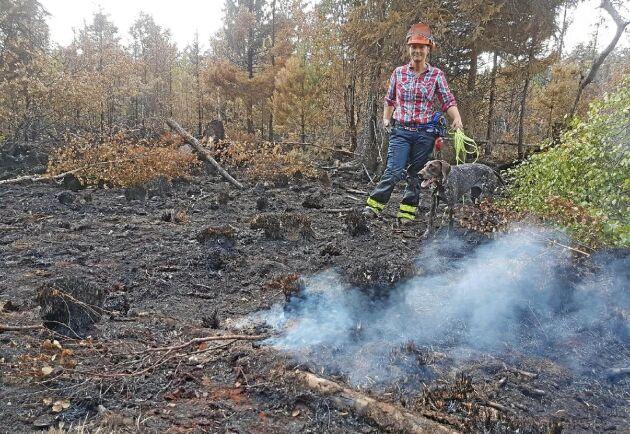 Malin Kyllesjö är initiativtagare till utbildningen av brandhundarna. Här är hon ute i markerna med worstehn Ripa.