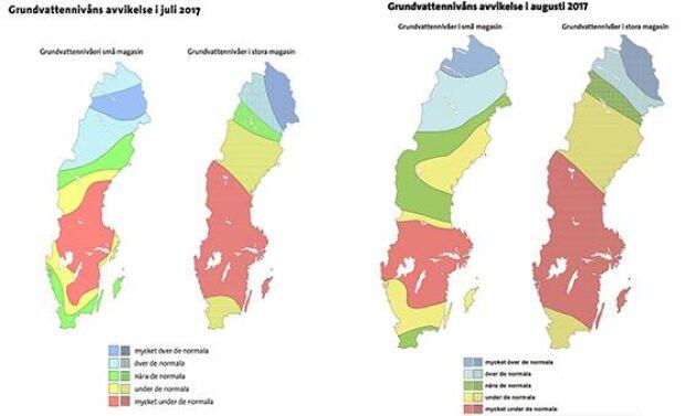 Grundvattennivåernas avvikelser i juli och augusti.