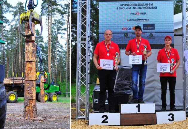 På prispallen ser vi ettan Johan Larsson, tvåan Martin Henrysson och trean Jacob Wennebring.