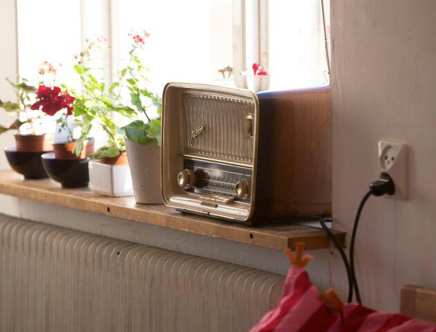 Den här platsen, vid den gamla radion, är enda platsen i Susann Johnssons och Andreas Hoffstens hus i Hovlös där det kan finnas en liten chans till skaplig mobiltäckning.