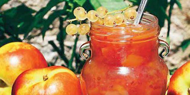 Vinbärssylt med nektariner – på vita eller röda bär