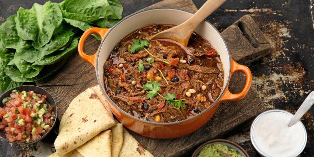 Chili con carne med helt kött
