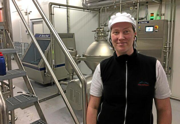 Agronomen, mejeristen och delägaren Elisabeth Löfstrand på Dellenmejeriet. Arkivbild från reportage i januari 2018.