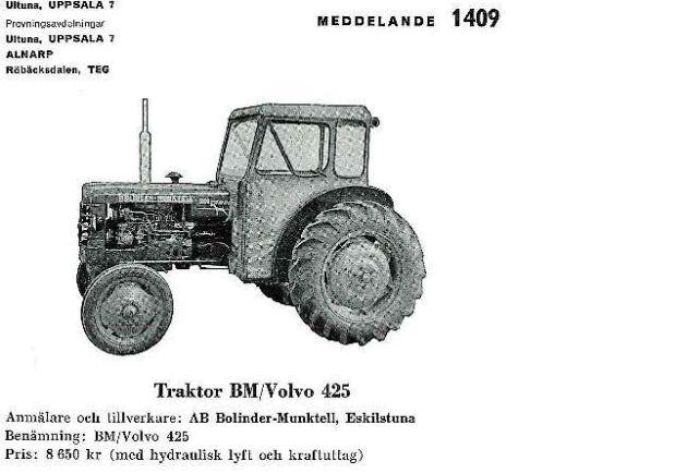 Testet av Volvo BM 425 kom med i rapport 1409.