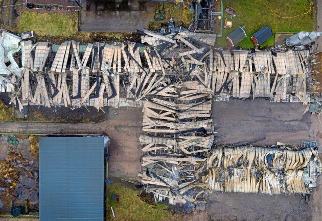Hela ladugården förstördes i branden.