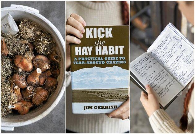Boken med stort B - Jim Gerrishs bok om gräsbete. Till höger anteckningsboken där viktigheter sätts på pränt.