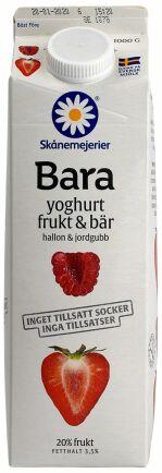 Tvåa på matbluffslistan 2019 är Skånemejeriers 'Bara yoghurt frukt & bär hallon & jordgubb'.