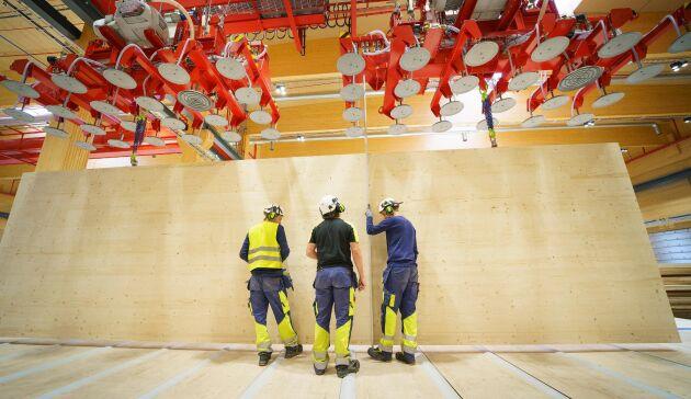 CLT-produkterna från Gruvöns sågverk är 16 meter långa och 3,5 meter höga. Den nya produktionslinjen för korslimmat trä, en investering på närmare en halv miljard kronor, som invigdes på Stora Enso Gruvöns sågverk utanför Karlstad i våras går bra. Nu planeras för ytterligare nyanställningar och produktionsökning.