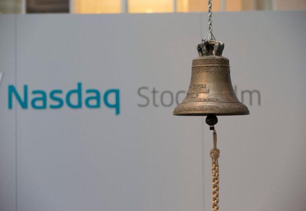 Den klassiska börsklockan på Stockholmsbörsen.