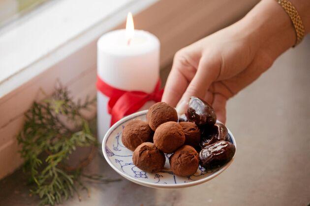 Dadelbollarna som kan bli julens favoritgodis.