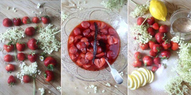 Fläder- och jordgubbskompott med vanilj