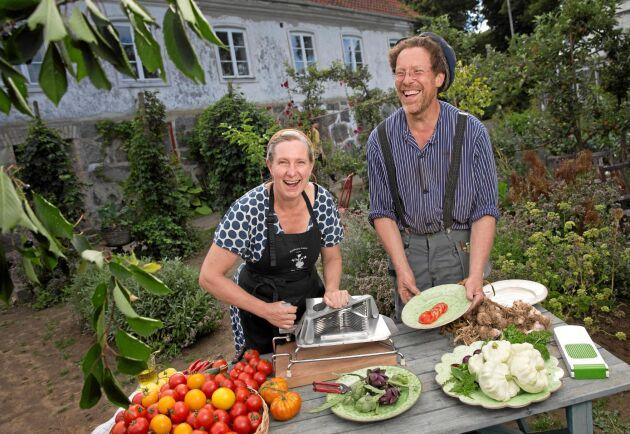 Älskar tomater! Marie och Gustav Mandelmann använder massor av tomater i sin matlagning.