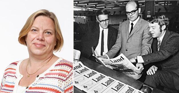 Lena Johansson om en ny tidnings födelse. Bild th: Lands första chefredaktör Håkan Rydén, flankerad av redaktionscheferna Hans Davidson och Björn T Johansson.