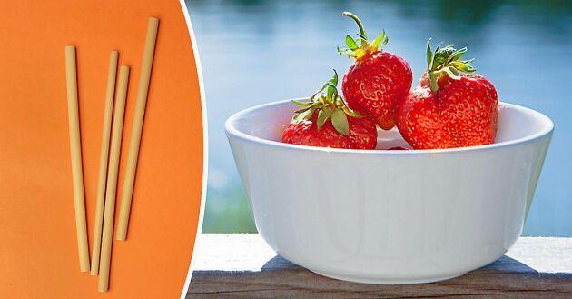 Rensa jordgubbar snabbt och utan kladd.