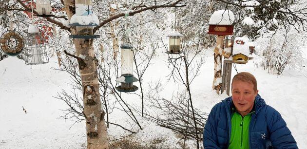 Mattias Larsson i byn Kuttainen bjuder fåglarna på flera olika sorters mat.
