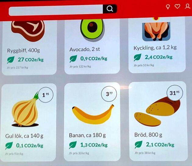 Några exempel på olika livsmedels klimatpåverkan såsom det presenteras i appen och på hemsidan.