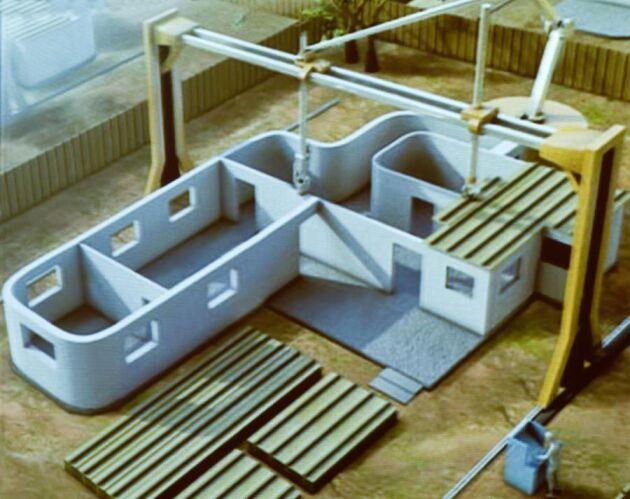 Den här modellen som Marlene Johansson nyligen visade på en skogskonferens visar hur en storskalig 3D-skrivare printar ut en villa i betong. Det nya +Projectet ska utveckla en träråvara som kan användas för att bygga/printa ut ett hus i trä.
