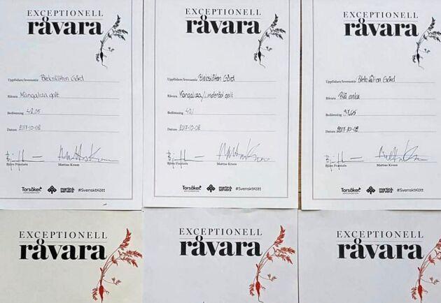 Diplom från Exceptionell Råvara för Blekslättens Gård.