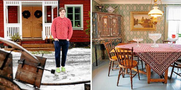 """Kika in i 21-årige Joars varsamt renoverade kuskhus: """"Som att rusta upp ett ödehus"""""""