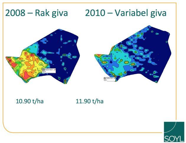 Företaget erbjuder paket för variabel utsädesmängd som bygger på en jordartskartering med konduktivitetsskanning, karta för fältgrobarhet och abonnemang på styrfiler för utsädesmängd. Med variabel utsädesmängd går det att höja avkastningen, menar SOYL.