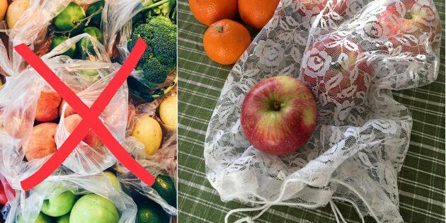 Plastbanta: Sy fruktpåse av en spetsgardin