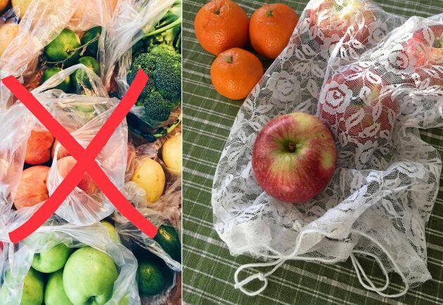 Hej då, plastpåse! Hemsydd fruktpåse ersätter.